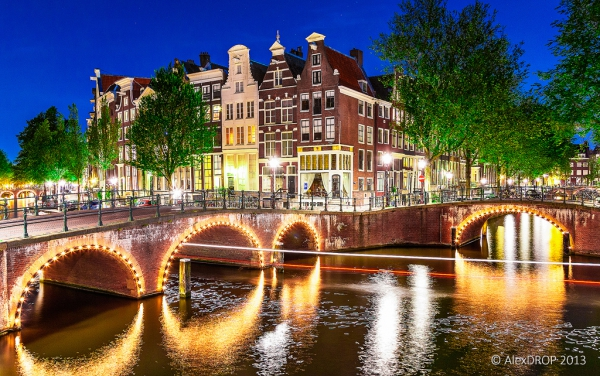 Canals of Amsterdam during the blue hour - Keizersgracht and Leidsegracht junction, Amsterdam, The Netherlands (Holland)